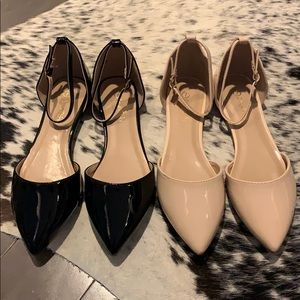 Shoes - Patent Leather Ankle Strap Shoes (nude or black) 7